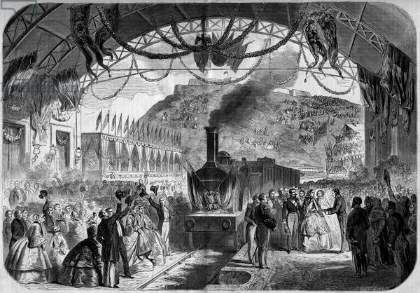 """Visit of Napoleon III (1808-1873) and the emperor Eugenie (1826-1920) to Cherbourg (Manche, 50), 1858: arrival of the imperial couple in the station of Cherbourg and handing over the keys to the city by the mayor. Engraving in """""""" Le Monde Illustré"""""""" n°70 of 14 August 1858."""