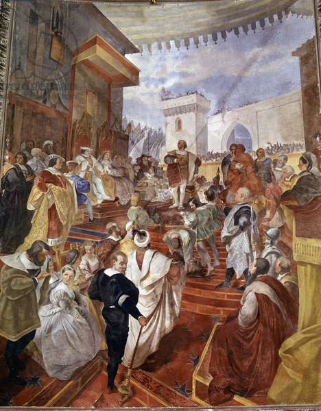 The return of Christopher Columbus to Spain before King Ferdinand II of Aragon and Isabella 1st of Castile (called the Catholic) after disclosing America - Painting by Francesco Gandolfi (1824 - 1873) - Genes Palais Tursi