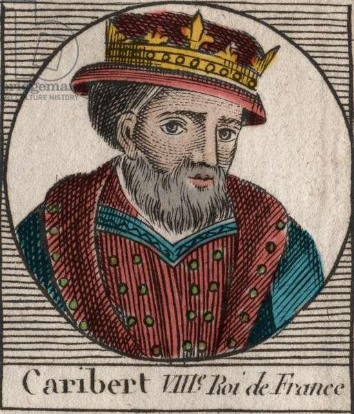 """Portrait of Caribert, King of the Franks (561-567) - Caribert or Charibert (d.567) King of the Franks - engraving from """""""" Instruction sur l'Histoire de France"""""""" by Charles Constant Le Tellier 1821"""