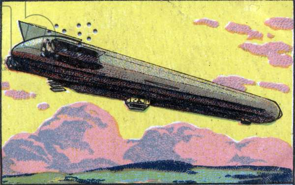 Germany: The Zeppelin of 1914. Chromolithography of 1936.