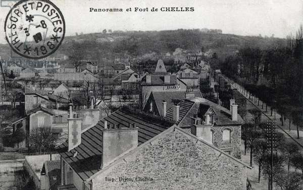 Panorama and Fort of Chelles, Seine and Marne - 1910s, postcard. France, 20th century.