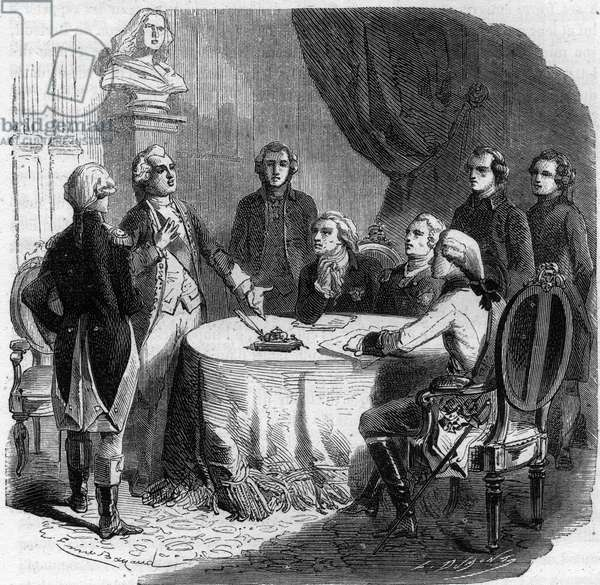 """Declaration of Pillnitz - War of the First Coalition 1791 - 1797 - conference at Pillnitz 25 - 27-8- 1791 - Emperor Leopold II (1747-92), Frederick William II King of Prussia (1744-97) and Frederick Augustus I the 'Just', Elector of Saxony (1750-1827) and Charles Count of Artois meeting at Pillnitz meeting at Pillnitz on 24th 1791 - Declaration by Pillnitz Chateau de Pillnitz in Saxony between Emperor Leopold II and King Frederic William II of Prussia and the Count of Artois, brother of the King of France - Engraving in """"Histoire des Girondins"""""""" by Alfonso de Lamartine (1790-1869) 1865-1866 - Private collection"""