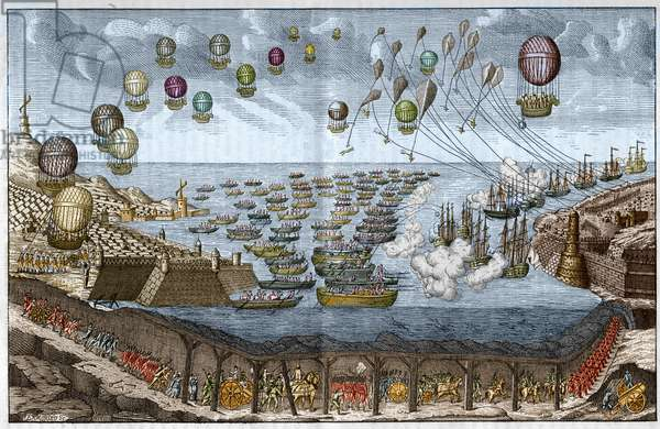 Project of attack (Invasion) against England in 1803 by Napoleon I - French troops walk through the Channel Tunnel while ships and balloons attack by sea and air - Engraving of 1803