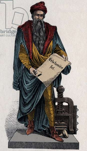 """Johann Gutenberg, German printer and goldsmith, 15th century - Johannes Gensfleisch dit Gutenberg (1394/99-1468), German printer, holding a parchment with writing """""""" and the light was"""""""""""" - Engraving of the 19th century"""