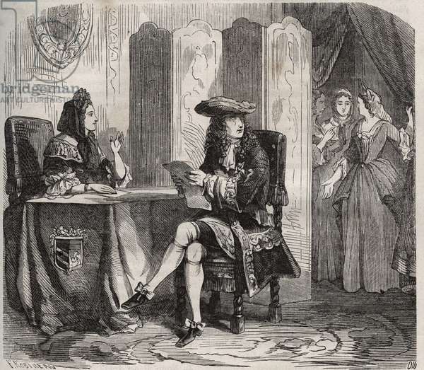 """King Louis XIV (1638 -1715) and his wife, the Marquise of Maintenon (Francoise d'Aubigne or Madame de Maintenon, 1635-1719). Engraving from 1871 in """"Histoire Des Cocus Celebres"""""""" by Henry de Kock (1819-1892)."""
