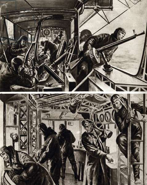 "First World War (1914-1918): Air pirates aboard a zeppelin (airship). Machine gunners defensive positions on zeppelins and command post during a raid. In """" The mirror"""" 1917"