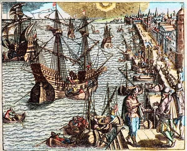 View of the port of Lisbon in the 16th century -
