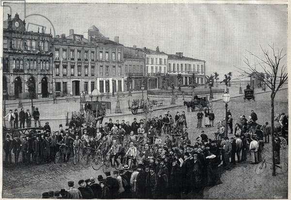 Depart of Bordeaux-Paris (Bordeaux Paris) cycling race in 1891 - engraving by Meaulle of 1891