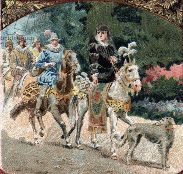 Entrment of Charles IX (1550-1574) and Catherine de Medicis (Caterina de Medici) (1519-1589) to the castle of Chenonceaux. Chromolithography of the late 19th century