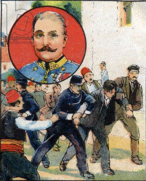 Attack of Sarajevo in 1914 which killed Archduke Francois-Ferdinand (Franz Ferdinand or Francois Ferdinand), Archduke of Austria (1863-1914) and arrested the assassin in Austria. Chromolithography of 1936.