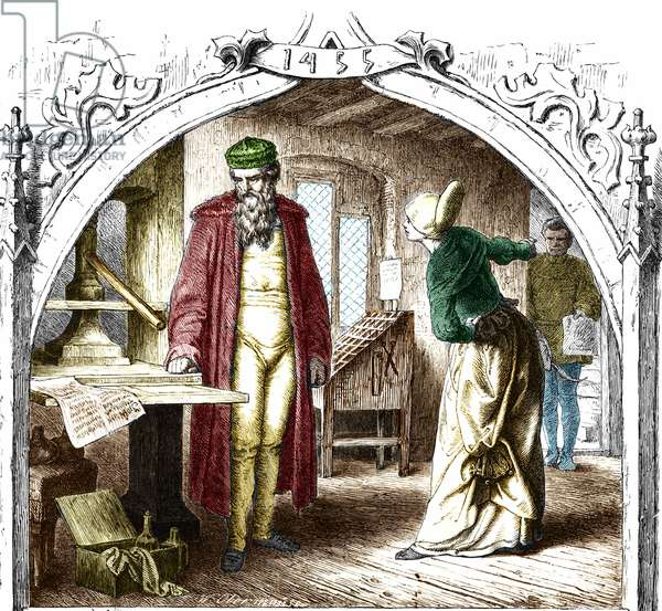 Johannes Gensfleisch Gutenberg (1400-1468), German printer and his printing press.