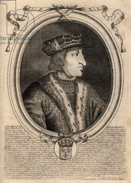Portrait of Charles VI (1368-1422), King of France - CHARLES VI (1368-1422) King of France, 1380-1422 - engraving from 'Les Augustes Representations de tous les Kings de France from Pharamond to LouisXIV', Paris, 1679 by Larmessin (family of engravers) (1600-1799)