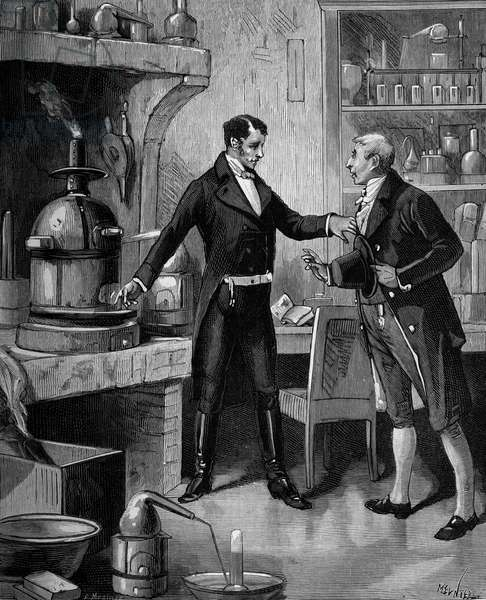 William Hyde Wollaston, (1766 - 1828) British physicist and chemist shows the furnace in his laboratory has a visitor.