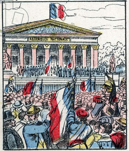 """Official proclamation of the Republic on the peristyle of the palace of the National Assembly on May 4, 1848 - Engraving in """"Histoire de France from the most remote times to the present day"""" drawing by Jules Pacher - Patriotic Imagery of Pont-Mousson - Late 19th century - Private collection"""