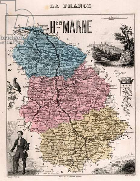 La Haute Marne (Haute-Marne, 52), Champagne-Ardennes (Champagne Ardennes) - France and its Colonies. Atlas illustrates one hundred and five maps from the maps of the depot of war, bridges and footwear and the Navy by M. VUILLEMIN. 1876.