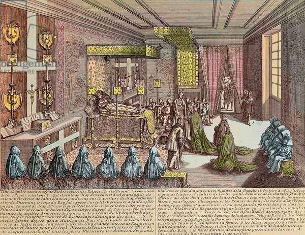 Louis XIV (1638-1715) on his deathbed at Versailles, 1st September 1715 - La chambre du trepas de Louis XIV à Versailles, 1 September 1715