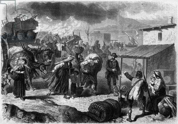 """Eruption of the Vesuvio (Vesuvio), Italy, 1861; inhabitants of Torre del Greco fleeing their village. Engraving in """""""" Le Monde Illustrous"""""""" n°246 of 28 December 1861."""