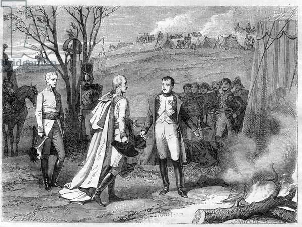 "Meeting of two emperors after Battle of Austerlitz, 4 December 1805 (Napoleon Bonaparte, 1769-1821 Emperor of France and Francis I, 1768-1835 Emperor of Austria (Francis II, Holy Roman Emperor) - Meeting of Emperor Napoleon I and Emperor of Austria, Francois II (1768 - 1835) after the Battle of Austerlitz Z le 2/12/1805 - in """" History of the Empire following the history of the consulate"""" by Adolphe Thiers -1879 - private collection"