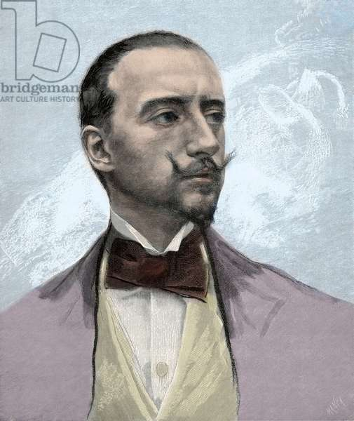 Portrait of Gabriele D'Annunzio (1863-1938) Italian poet, engraving after Francesco Paolo Michetti - 1895