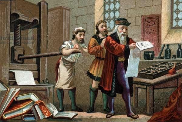 Johannes Gutenberg (1400-1468), German printer, printing the first sheet of the Bible.