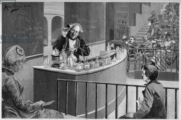 """Michel Eugene (Michel-Eugene) Chevreul (1786-1889) gave his chemistry court in the amphiteatrician of the Museum of Natural History in Paris, In """""""" the Illustrous World"""""""" 1886."""