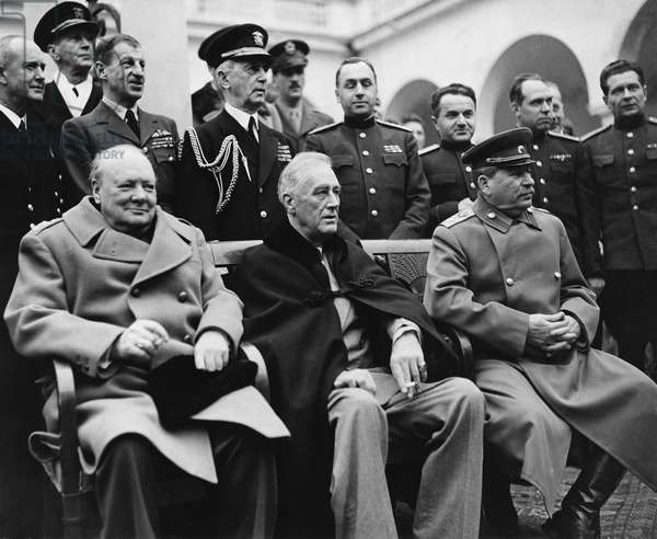 Winston Churchill, Franklin D. Roosevelt and Joseph Stalin, Yalta Conference, Crimea, USSR, February 4-11, 1945 - Second World War (1939-1945) - World War II (WWII or WW2): Yalta Conference (Crimee) Sovietic Union 4-12 February 1945: At Livadia Palace, from left to right sitting: British Prime Minister Sir Winston Churchill, the President of the United States Franklin Delano Roosevelt and Secretary General of the CPSU Joseph Stalin.