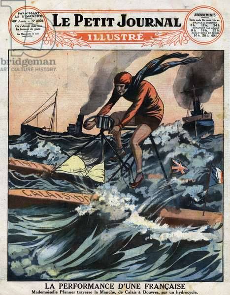 """Crossing the Channel of Ccalais to Dover by French Aimee Pfanner aboard a hydrocycle. Engraving in """""""" Le petit Journal Illustré"""", on 19/05/1929"""