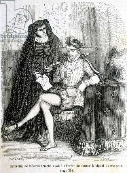 "Catherine de Medici (Caterina de Medici) tears from her son (Charles IX) the order to give the signal of the massacre of Saint Barthelemy in 1572 - in ""Histoire de France"" by L.-P. Anquetil, 1851."