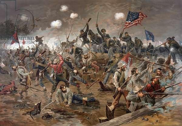 Battle of Spotsylvania Court House, Virginia, American Civil War, 12 May 1864 - American Civil War (1861 - 1865): Battle of Spotsylvania Courthouse, Virginia, May 08-21, 1864. Engraving of the 19th century.