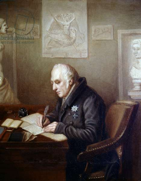 Portrait of Alexander Von Humboldt (Alexander of Humboldt, 1769-1859) in his office - Painting of the German school of the 19th century - Goethe museum, Frankfurt