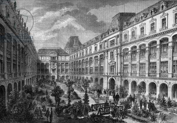 Transformations of Paris under the Second Empire, Paris Haussmann: Place du Chateau d'eau. The garden of shops reunited.