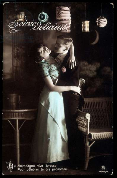 Champagne, long live the drunk, to celebrate tender promise - postcard, deb. 20th century