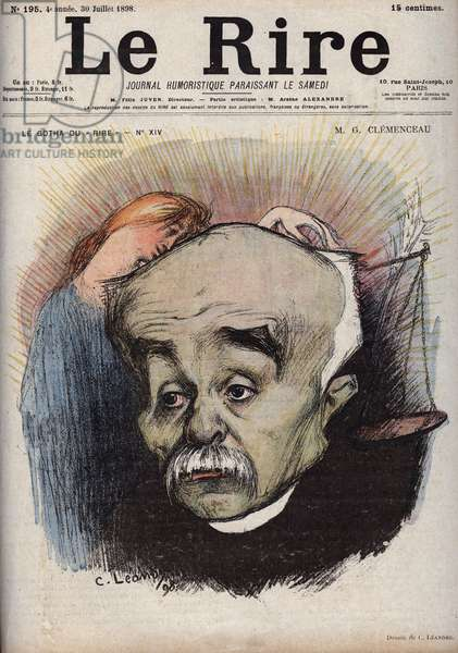 """Portrait of Georges Clemenceau (1841-1929) - the balance refers to the newspaper La Justice"""""""" and its director, Cornelius Herz, who had received money from Clemenceau - caricature by Charles Leandre (1862-1934) in """""""" Le Rire"""""""""""" of July 30, 1898"""