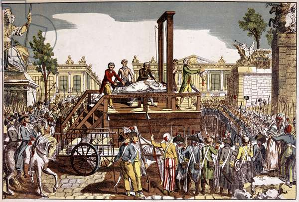 Decapitation by Marie Antoinette (1755 - 1793), Queen of France - Popular engraving of the period - Musee Carnavalet, Paris