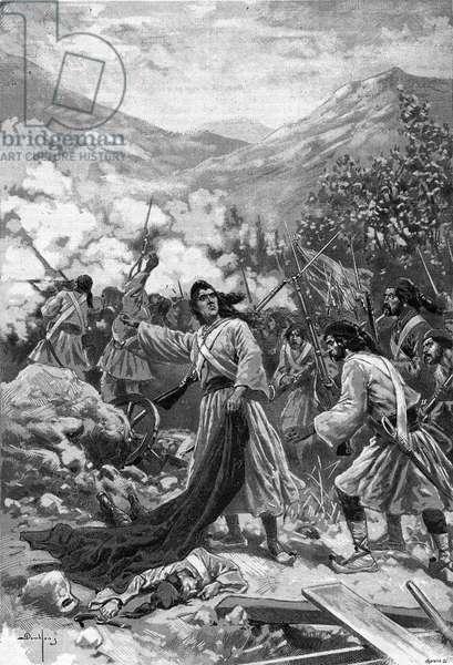 "Laskarina Bouboulina, heroine of the Greek War of Independence - Representation of the heroine of the Greek Independence Bubulina (Bouboulina) Laskarina (1771-1825) engraving of 1897 in """" Journal des voyages"""""""