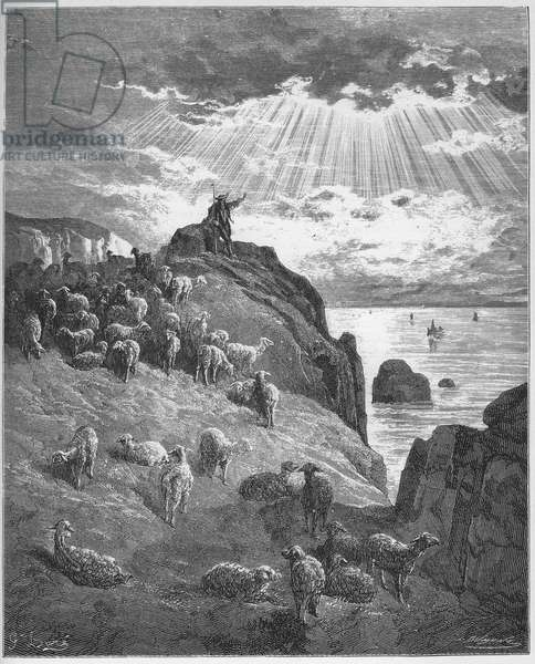 Le berger et la mer - The Shepherd and the Sea - from 'Fables' by Jean de La Fontaine (Lafontaine) (1621-95) - engravin after Gustave Dore (1832-83) - Private collection