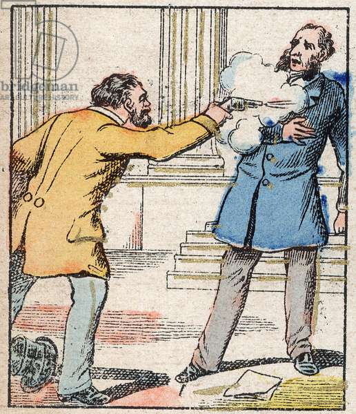 """Attempted attack on Jules Ferry at the Palais Bourbon in 1887 by the baker Aubertin. Engraving in """"Histoire de France from the most remote times to the present day"""""""" drawing by Jules Pacher. Patriotic imagery of Pont a Mousson. Late 19th century. Private collection."""