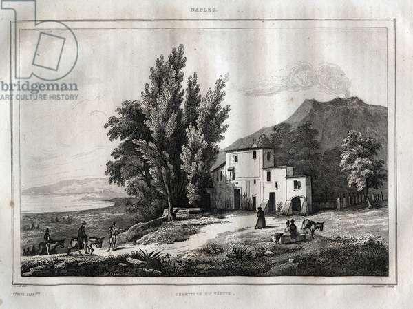"Hermitage of Mount Vesuvius - ERMITAGE DU VESUVE NAPLES ITALY - Vesuvio Engraving from """" Picturesque Italy"" - Historical and Descriptive Painting of Italy"" by M. de Norvins, Ch. Nodier 1834-1836."