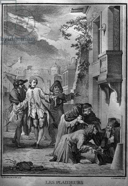 Les Plaideurs Illustration d'after Jacques de Seve for the works of Jean Racine (1639-1699), poet tragique francais. engraving of 1760.