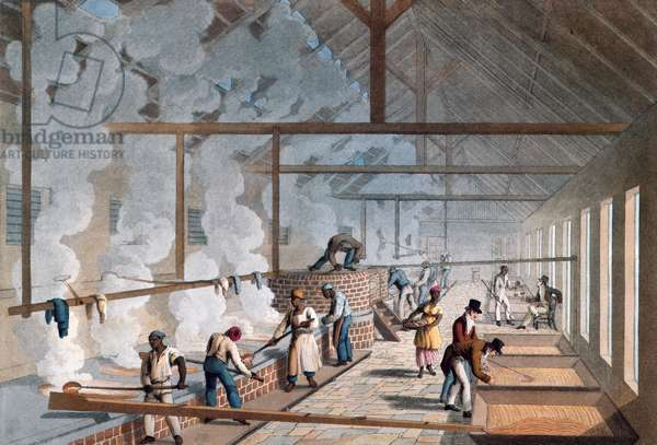 """- Interior of a Boiling House on a sugar plantation in """"Ten Views in the Island of Antigua, in which are represented the process of sugar making, and the employment of the negroes"""""""" by William Clark. 1823."""