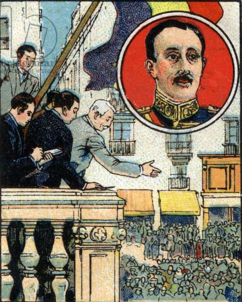 Proclamation of the Republic by Alfonso XIII (1886-1941) king of Spain. Chromolithography of 1936.