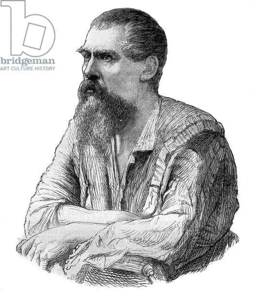 """Captain Richard Burton, British explorer, writer, soldier and diplomat - Portrait of the British explorer, writer and linguist Sir Richard Francis Burton (1821-1890) - Engraving in """""""" Picturesque History of Great Voyages in the Nineteenth Century"""""""". 1877"""