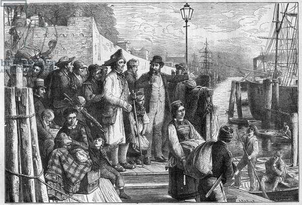 German emigrants for New York embarking on Hamburg steamer in 1874, engraving - (Deutsche Emigranten)