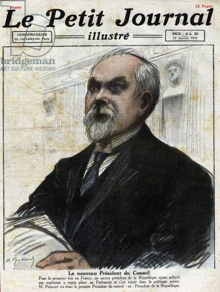 """The new president of the council: portrait of former president of the Republic Raymond Poincare (1860-1934) in the parliament of France on January 15, 1922. Engraving in """""""" Le petit Journal Illustré"""""""", on 22/01/1922"""