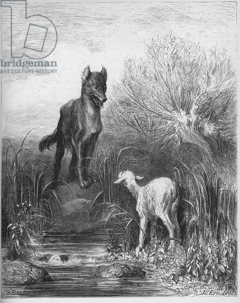 Le loup et l'lamneau - The Wolf and the Lamb - from 'Fables' by Jean de La Fontaine (Lafontaine) (1621-95) - engraving after Gustave Dore (1832-83) - Private collection