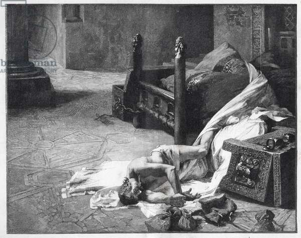 Death of William the Conqueror (William I of England) - First Norman king of England.1028-1087 Death of William I the Conquerant - engraving after the painting by Albert Maignan