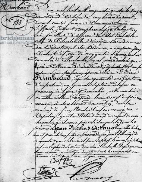 Birth certificate of Arthur Rimbaud (1854-1891), French poet Charleville, Musee Rimbaud.