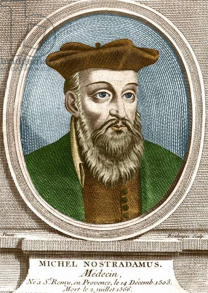 Portrait of Michel nostradamus, doctor, ne à Saint Remy de Provence (Saint-Remy-de-Provence) on 14/12/1503 and died 02/07/1566. Engraving of the 19th century.
