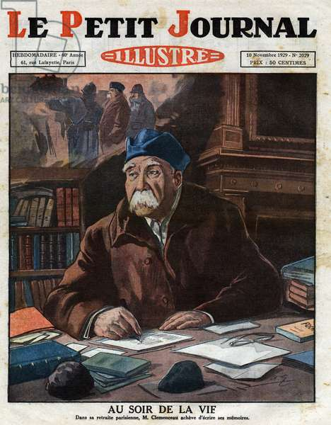 "Georges Clemenceau (1841-1929), writing his memoirs, shortly before his death. Frontpage of English newspaper Le petit Journal Illustre. November 10, 1929. Private Collection - Portrait of Georges Clemenceau (1841-1929) writing his memorials on the eve of his death. Engraving in """" Le petit Journal Illustre"""", 1929"