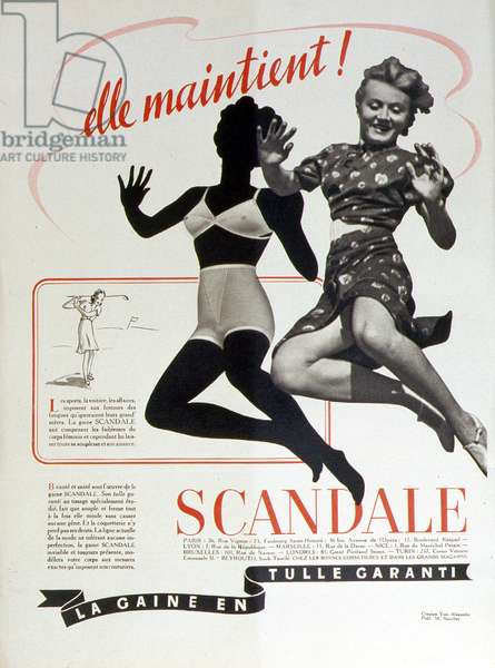 "Advertising from the bottom of the brand """" Scandale: The guaranteed tulle sheath"""". n.d. mid 20th century"